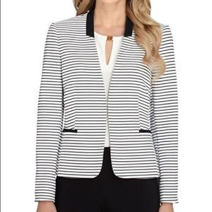Tahari Belted Black & White Striped Blazer